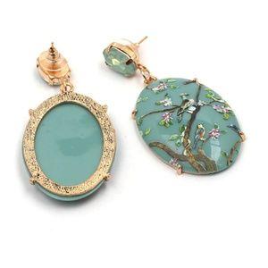 Jewelry - Bird Oval Earrings Tree Branch Leaf Dangling Drop